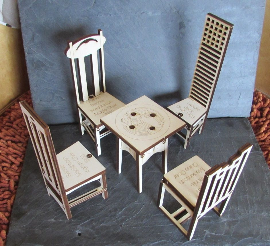 Charles Rennie Mackintosh Table And Chairs Set B Large