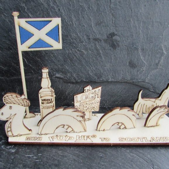 Mini Scotland Card with Coloured Saltire Flag Gift A6