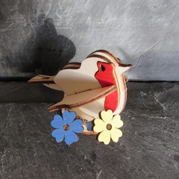 Robin Red Breast with Coloured Flowers Gift Card
