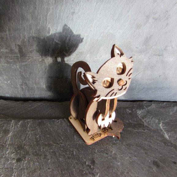 Cat Sat Coloured Wood Gift Card A6+