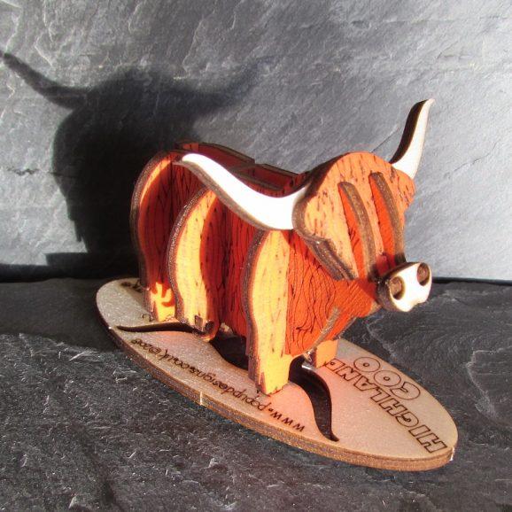 Highland Coloured Coo Wood Gift A6+